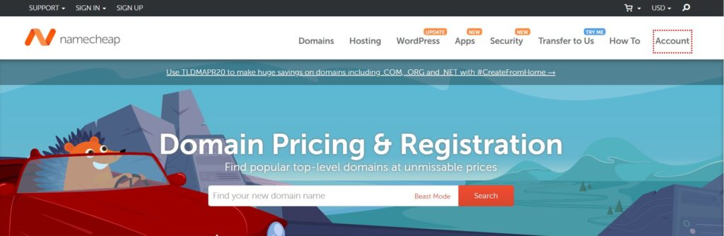 Penjana nama domain NameCheap