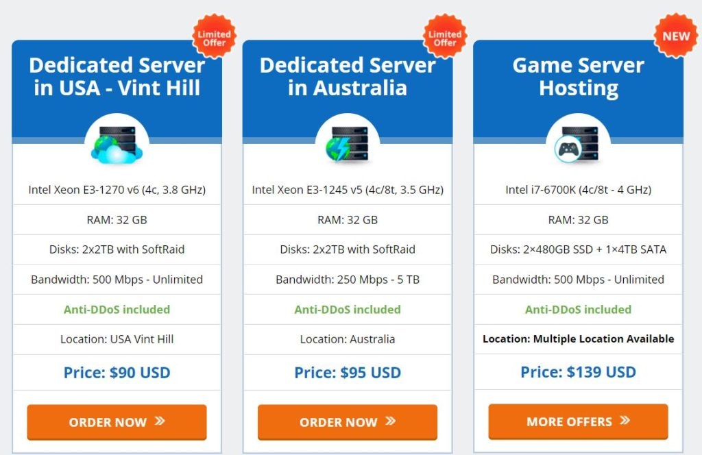 AccuWebHosting Dedicated Server -hinnoittelu