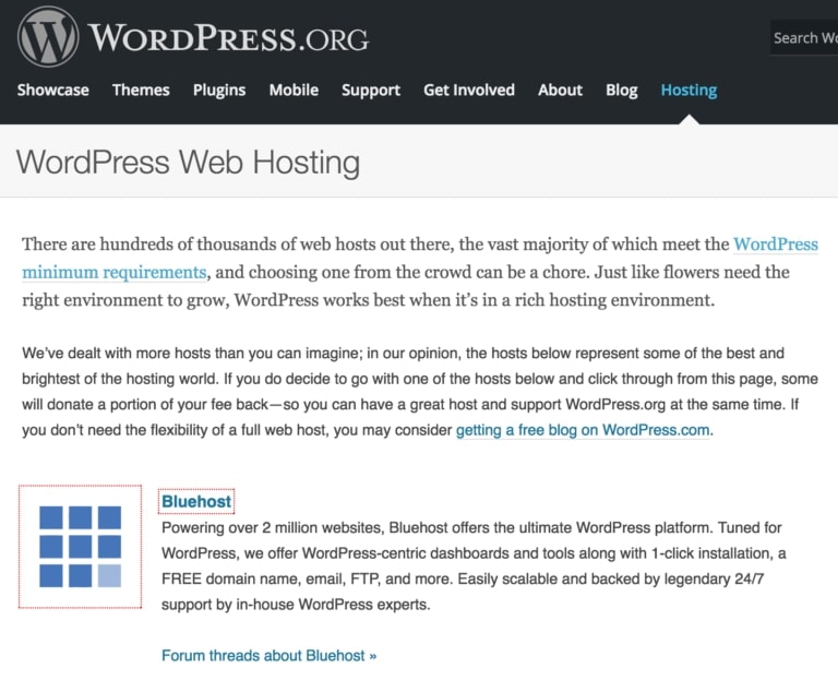 WP.org anbefaler Bluehost