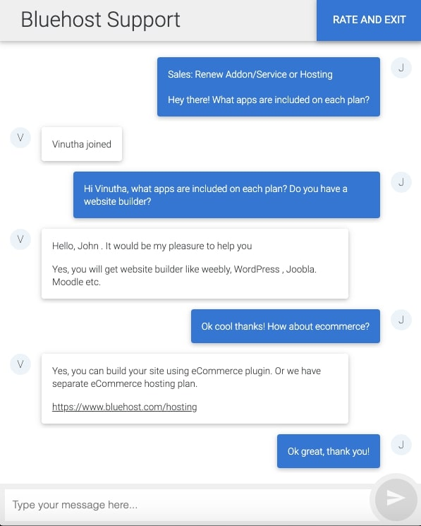 Bluehost kundeservice live chat