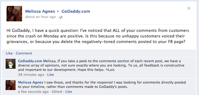 commentaire client godaddy