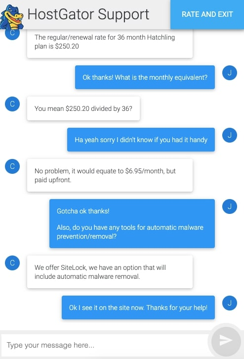 Hostgator Shared Customer Support Live Chat Experience