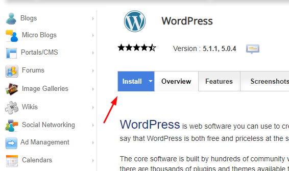 زر تثبيت WordPress