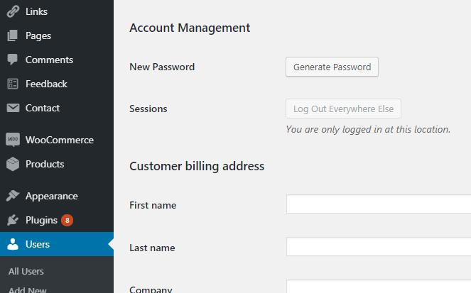 WordPress Users Account Management