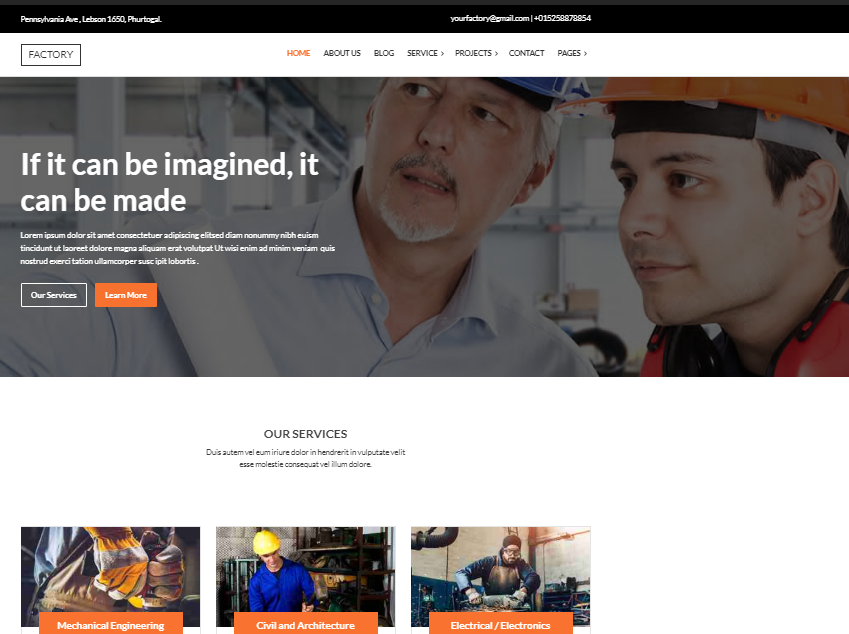 Factory Business WordPress-thema
