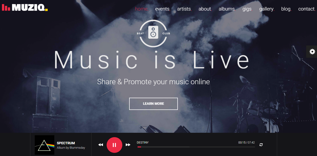 Muziq WordPress Theme für Musiker