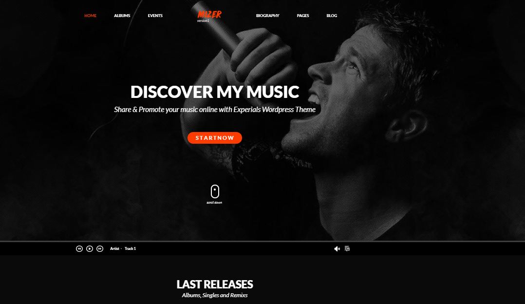 Mizer WordPress Theme für Musiker