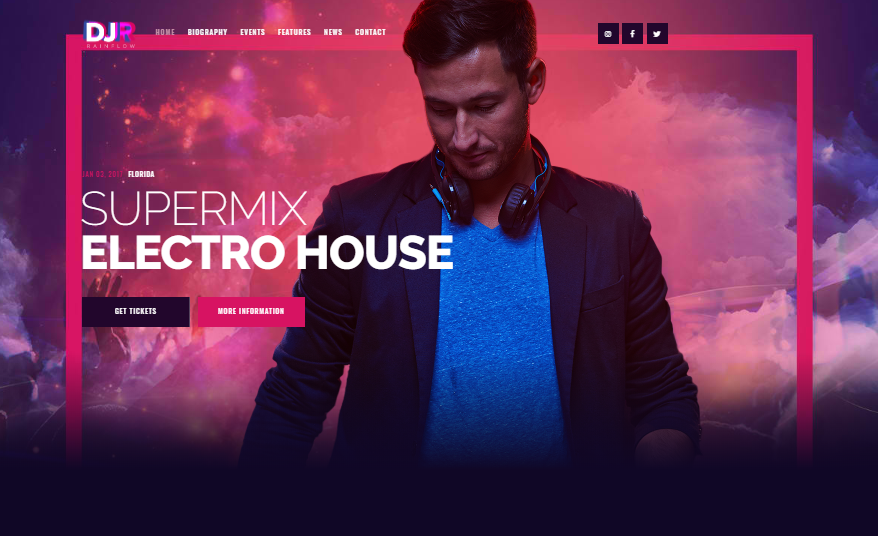 DJ Rainfall WordPress Theme